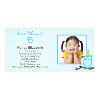 Guess Whooo? Photo Birthday Party Invitation -Blue Personalised Photo Card