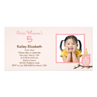 Guess Whooo? Photo Birthday Party Invitation -Pink Customized Photo Card