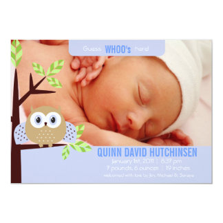 Guess WHOO's Here - Owl Baby Annoucement - Boy 13 Cm X 18 Cm Invitation Card