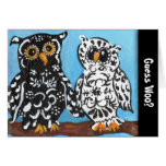 Guess Woo Black & White Damask Owls Greeting Card