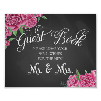 Guest book floral wedding print peony rose sign