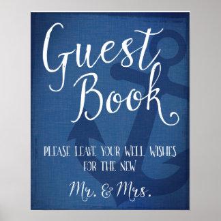 Guest book nautical wedding anchor sign poster