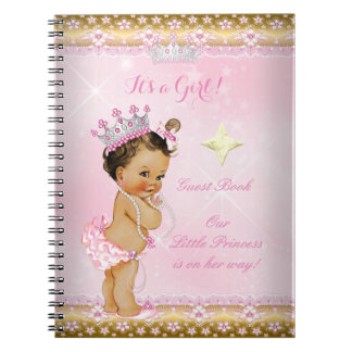 Guest Book Princess Baby Shower Pink Brunette Notebook