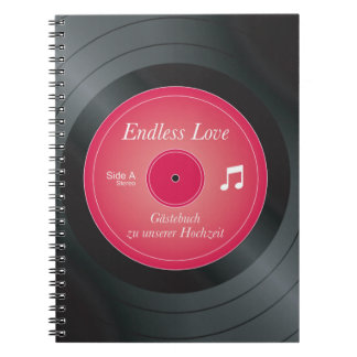 Guest book, ring binder, record spiral notebook