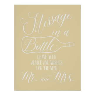 Guest Book sign - Message in a bottle Poster