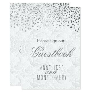 Guest Book Sign - Stylish Silver Confetti 13 Cm X 18 Cm Invitation Card
