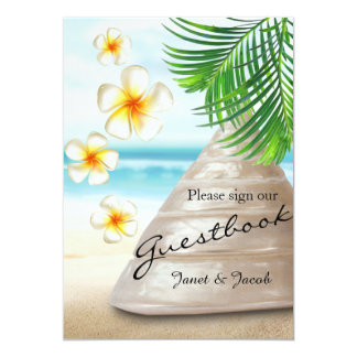 Guest Book Sign - Wedding on the Beach Wood 13 Cm X 18 Cm Invitation Card
