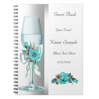 Guest Book Teal White Beige Rose Spiral Notebooks