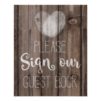 Guest book wedding floral rustic wood wedding sign poster