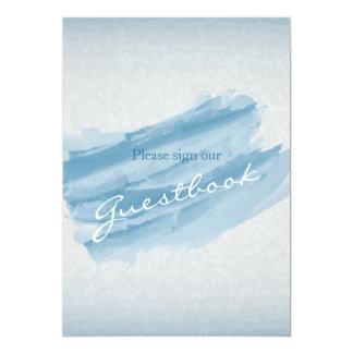Guest Book Wedding Sign - Modern Blue Watercolor 13 Cm X 18 Cm Invitation Card