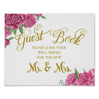 Guest book well wishes wedding sign peony rose poster