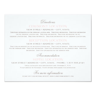 Guest Information Cards | Blush Pink and Gray 11 Cm X 14 Cm Invitation Card
