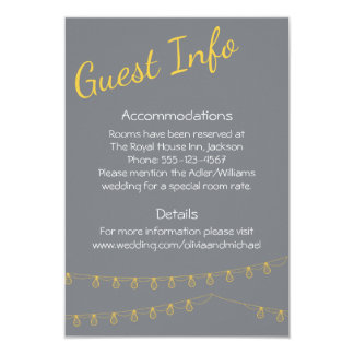 Guest Information in yellow and gray with lights Card