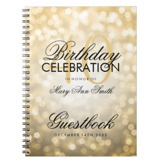 Guestbook 40th Birthday Party Gold Glitter Light Note Books