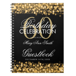 Guestbook 60th Birthday Party Sparkles Gold Note Books