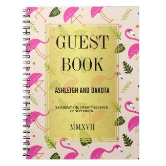 Guestbook   Fabulous Modern Hot Pink Flamingos Notebook