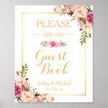 Guestbook Wedding Sign | Elegant Chic Floral Gold