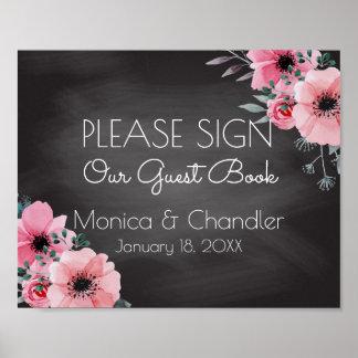 Guestbook Wedding Sign   Elegant Floral Chalkboard Poster