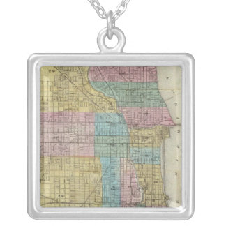 Guide Map of Chicago Silver Plated Necklace