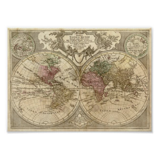 Guillaume de L'Isle 1690 Map of the World Poster
