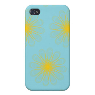 Guilloche Flowers light blue yellow iPhone 4 Cases