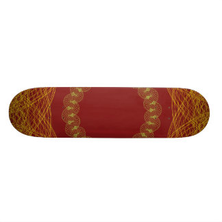 Guilloche Mesh Pattern Dark Red Skate Decks