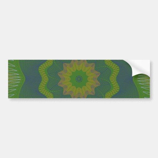 Guilloche Netted Pattern green Bumper Stickers