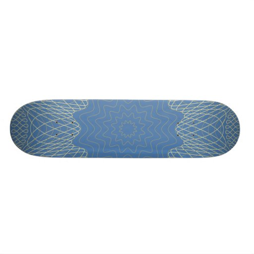 Guilloche Web Pattern blue Skate Decks