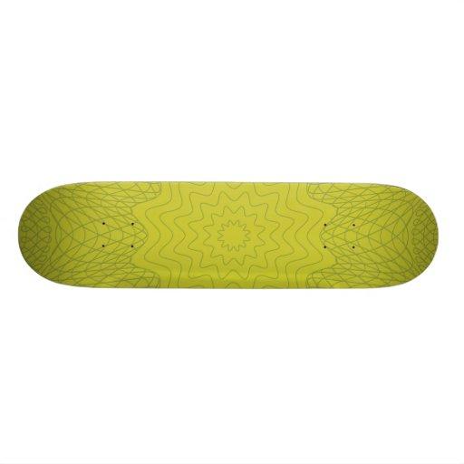 Guilloche Web Pattern yellow Custom Skate Board
