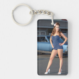 Guilty Pontiac GTO Vintage Swimsuit Pin Up Girl Key Ring