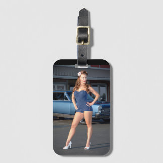 Guilty Pontiac GTO Vintage Swimsuit Pin Up Girl Luggage Tag