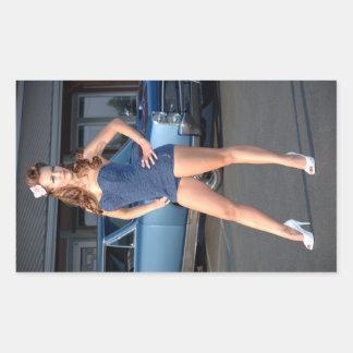 Guilty Pontiac GTO Vintage Swimsuit Pin Up Girl Rectangular Sticker
