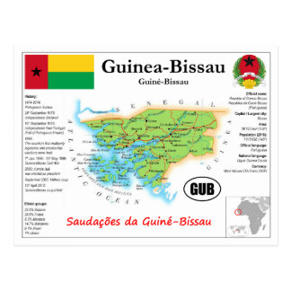 Guinea-Bissau map Postcard