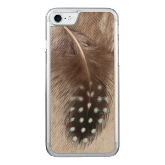 Guinea fowl and goose feather carved iPhone 7 case