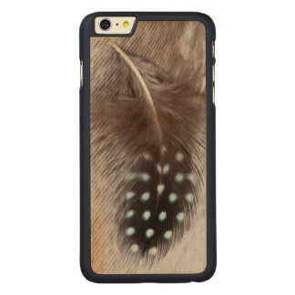 Guinea fowl and goose feather carved® maple iPhone 6 plus case