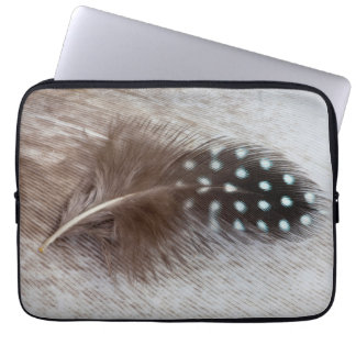 Guinea fowl and goose feather laptop sleeve
