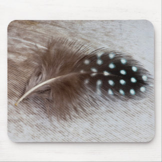 Guinea fowl and goose feather mouse pad