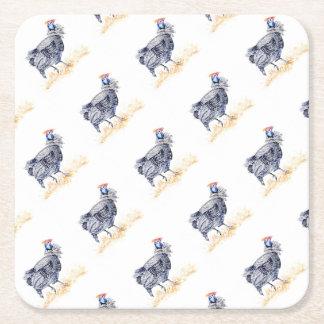 Guinea hen square paper coaster