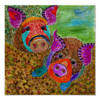 "Guinea Hog 12x12"" Poster (Customisable)"