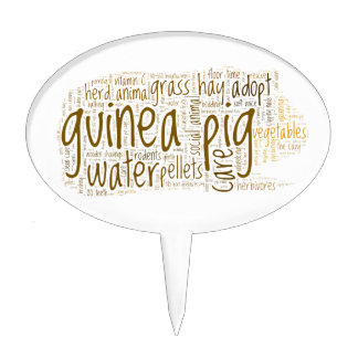 Guinea Pig Care Reminder Word Cloud Cake Toppers