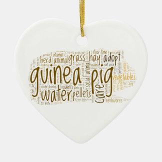 Guinea Pig Care Reminder Word Cloud Ceramic Ornament