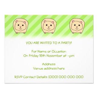 Guinea Pig Cartoon Animal Invitation