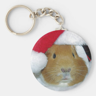 guinea pig christmas basic round button key ring