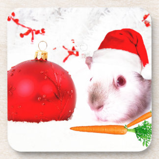 Guinea Pig Christmas Beverage Coasters