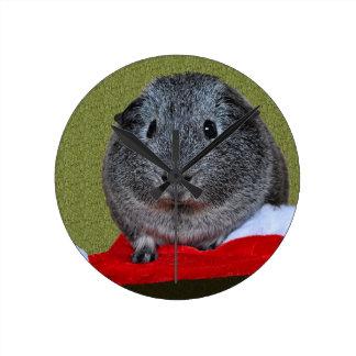 Guinea Pig Christmas Round Clock