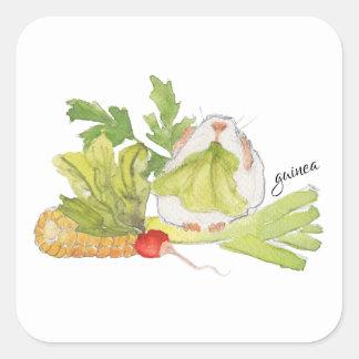 Guinea Pig Corn Leek Radish Watercolor Sticker