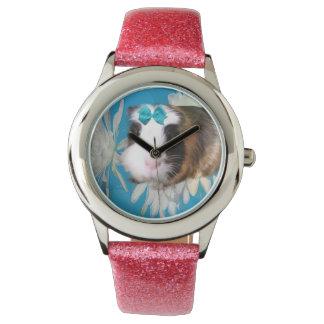 Guinea_Pig_Flower_Girls_Pink_Glitter_Kids_Watch. Watch