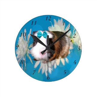 Guinea Pig Flowers Blue Medium Wall Clock