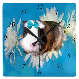 Guinea Pig Flowers Blue Square Wall Clock