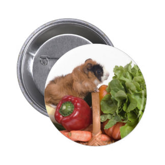 guinea pig in a basket of vegetables 6 cm round badge